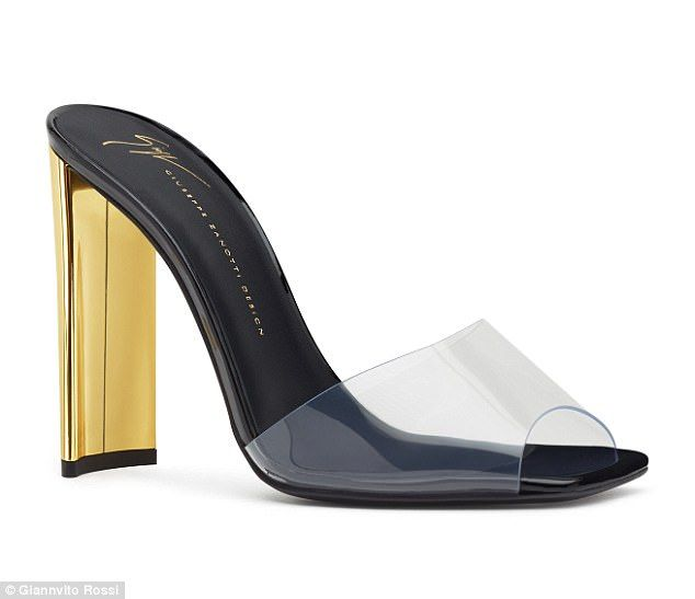 ece69225d89c F W¿17 ¿SABRINA¿ Clear PVC Mule with Gold Heel by Giuseppe Zanotti