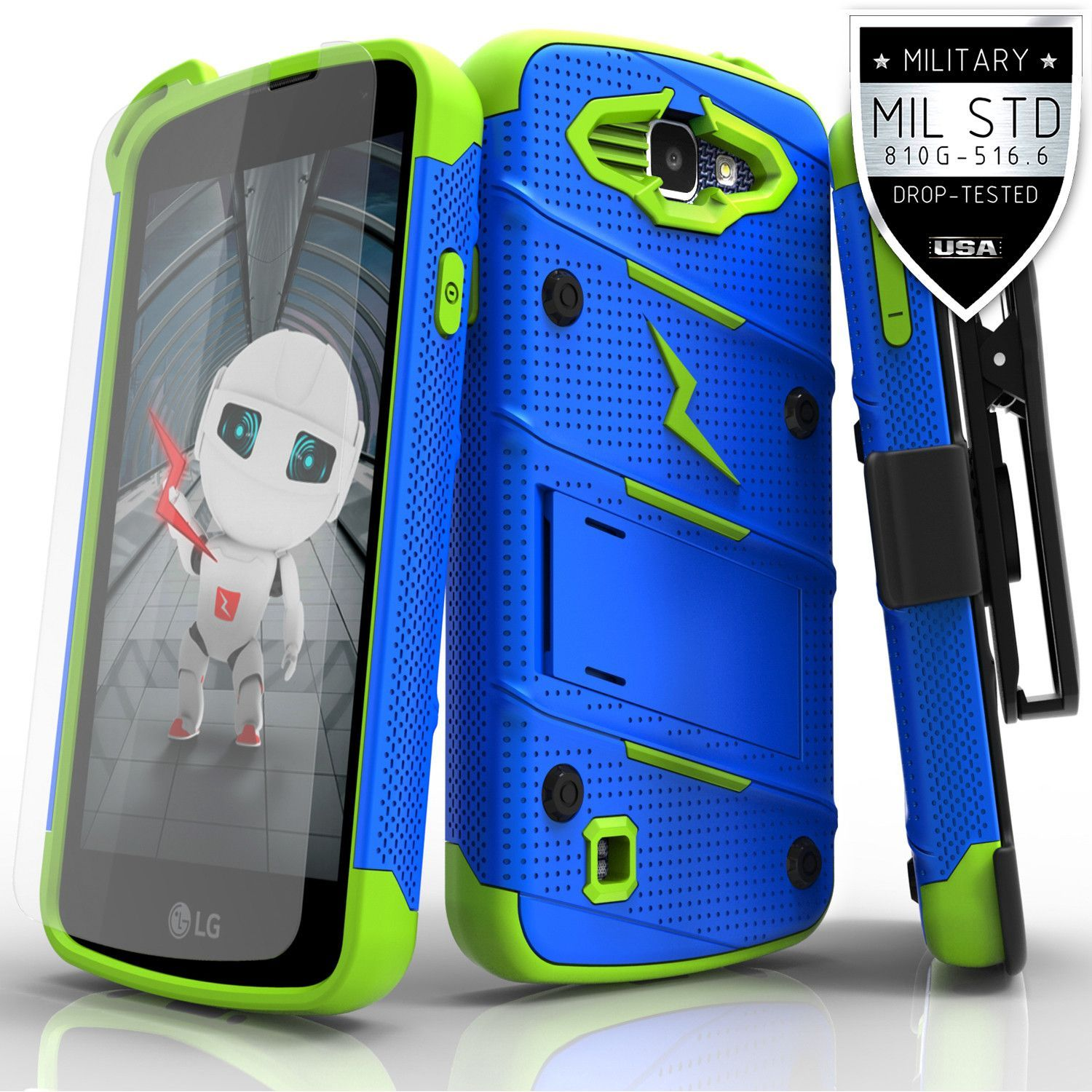 lg zone 3 phone cases. zizo bolt lg k4 lte / optimus zone 3 spree case - blue/ lg phone cases e