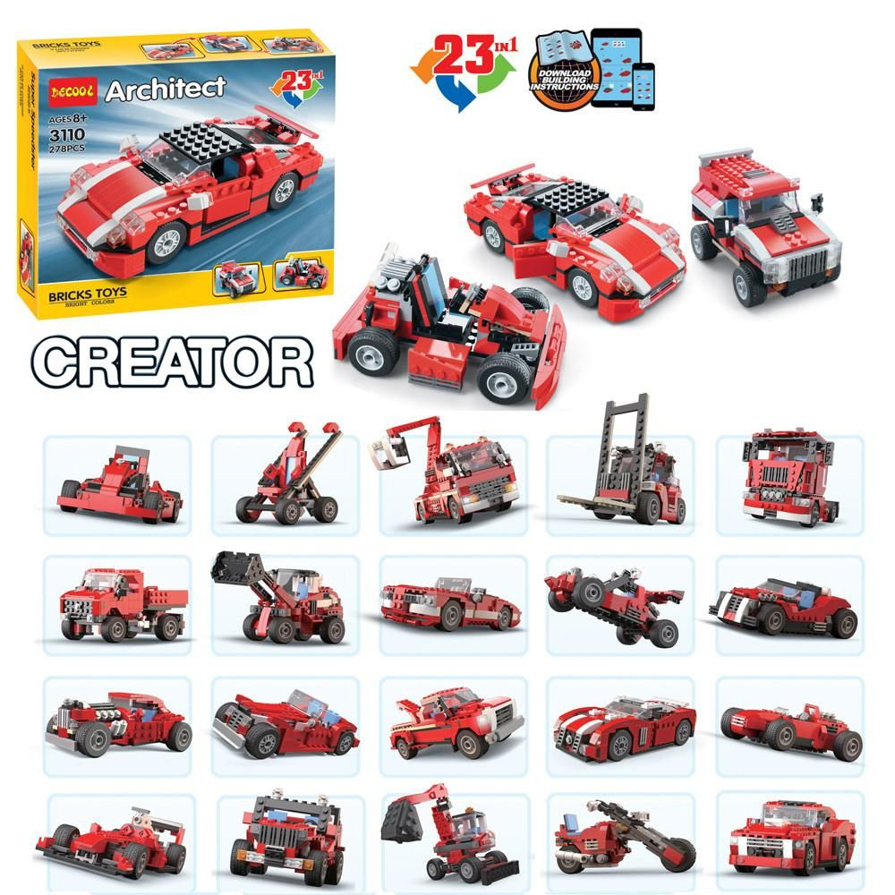 278pcs super speedster race truck car 23 in 1 transformable building block sets toys gift compatible