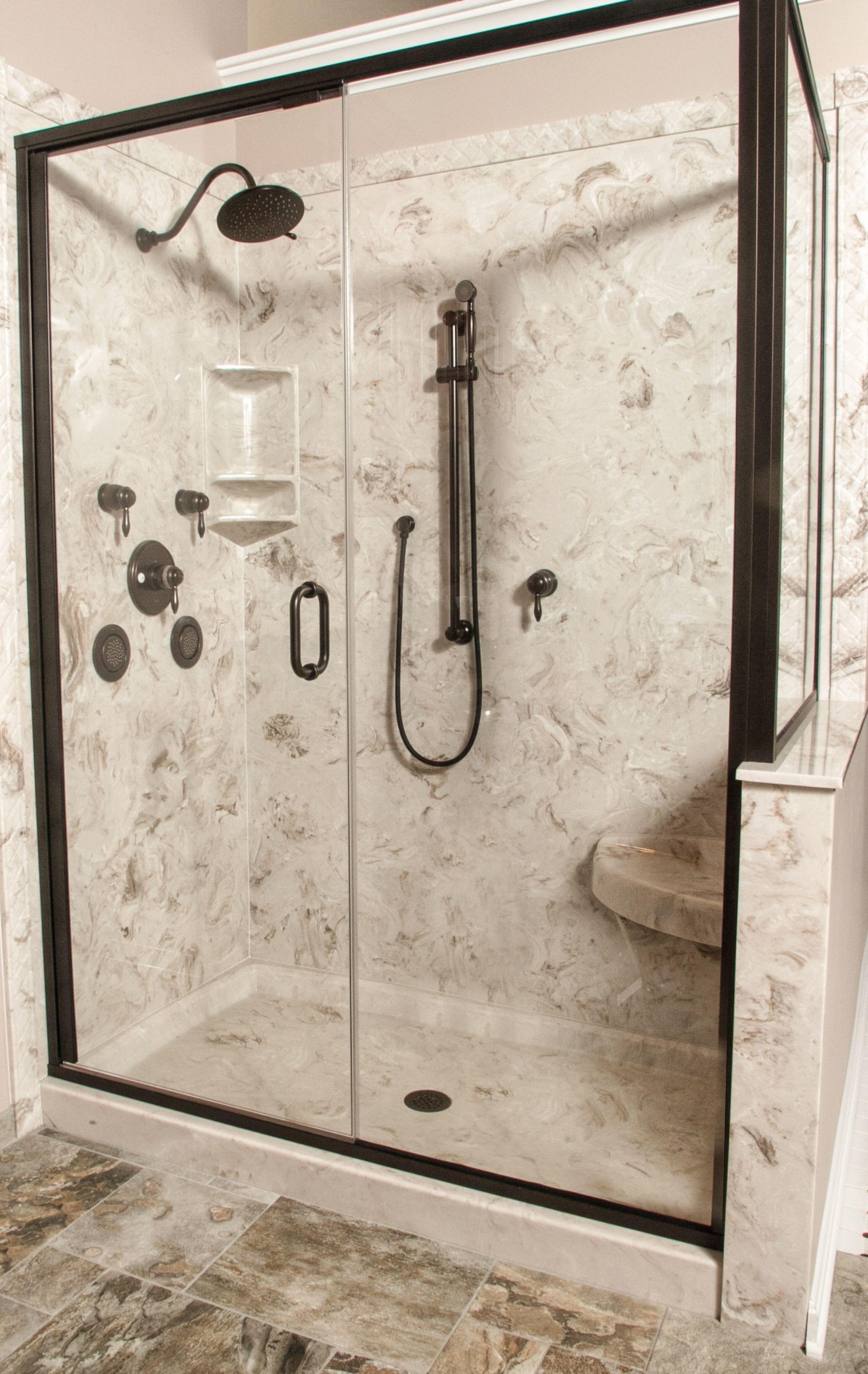 Cultured Marble Shower With Corner Seat Decorative Edge Trim 3 Tiered Bathroom CaddyBathroom