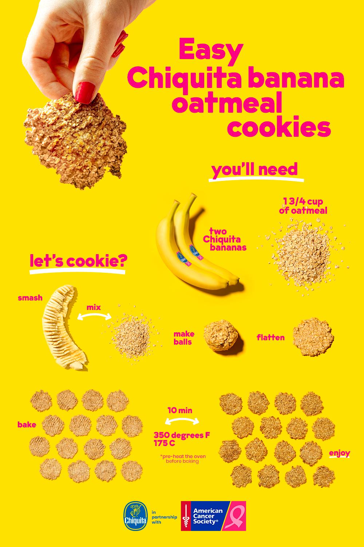Two Ingredient Chiquita Banana Oatmeal Cookies Chiquita Recipes Recipe Banana Oatmeal Cookies Baby Food Recipes Banana Oatmeal