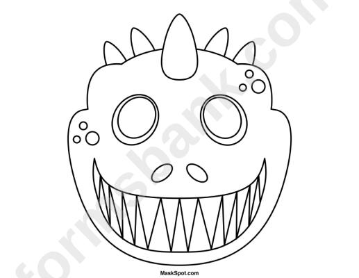 Dinosaur Mask Template To Color Tareas