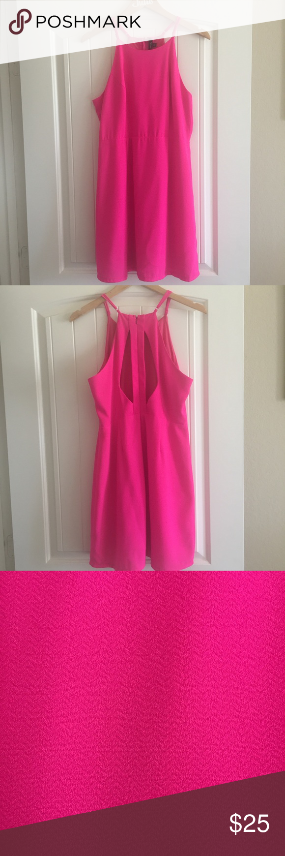 NWT Hot pink Dress Has adjustable straps, pattern is solid pink with a zig zag design, keyhole cutouts on the back, would be great for a summer wedding Very J Dresses Midi