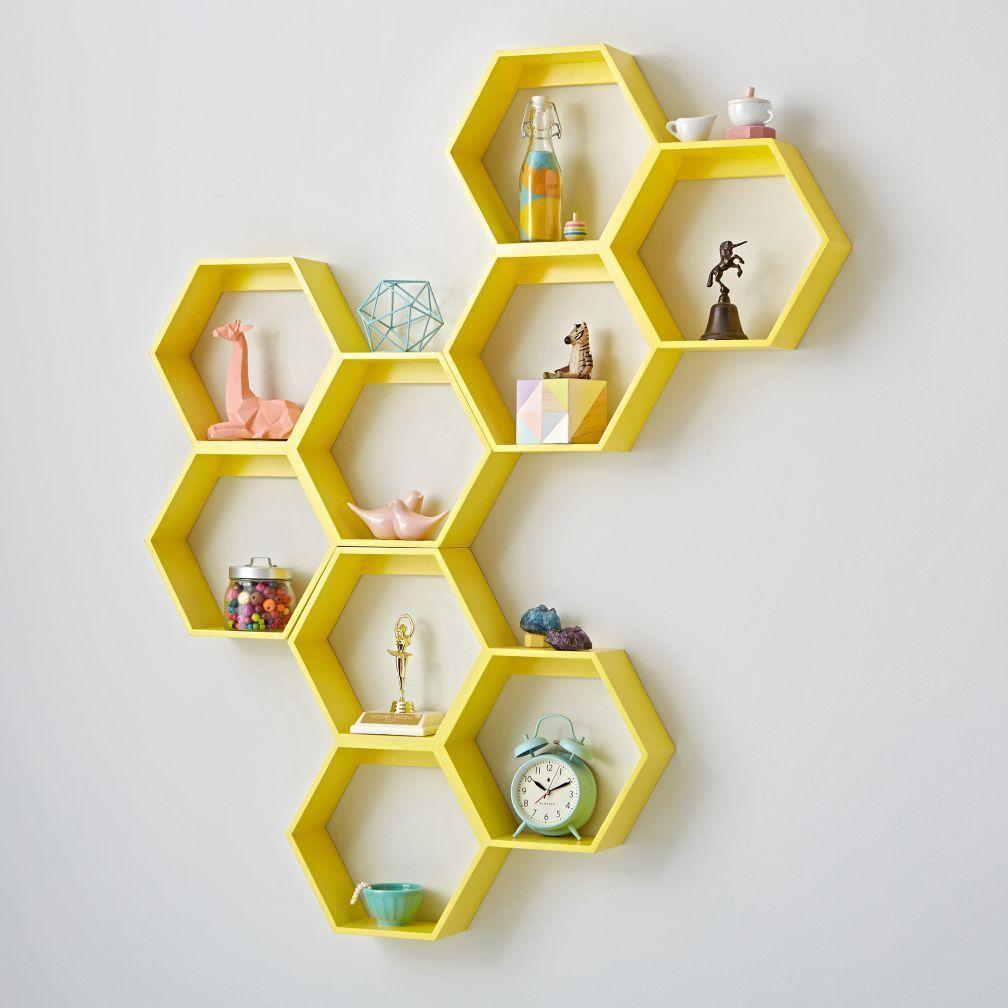 Honeycomb Yellow Hexagon Shelf Crate And Barrel Yellow Room Decor Home Decor Accessories Home Decor