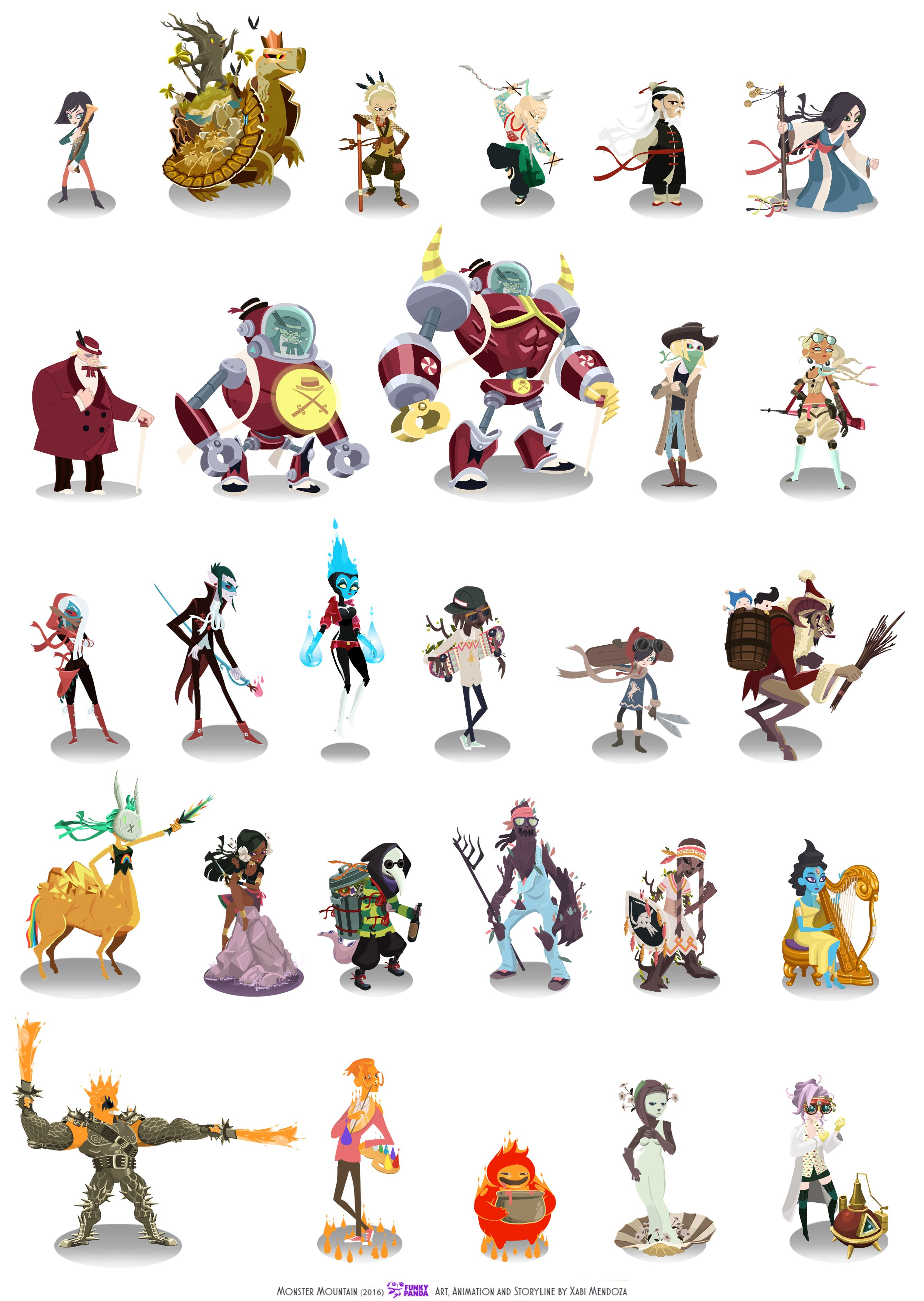 Character Design For Video Games Artworks By Xabi Mendoza For Monster Mountain An Rpg For Mobile Devi Character Design Game Icon Design Concept Art Characters