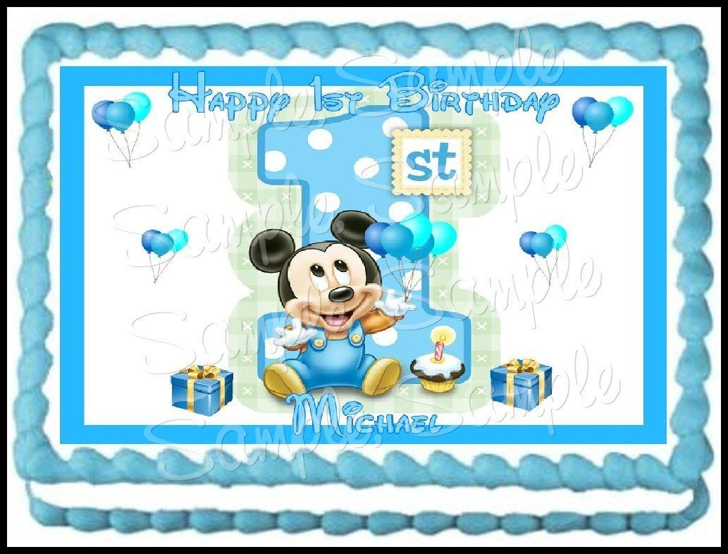Amazon.com: Baby Mickey 1st Birthday Edible Frosting Sheet ...