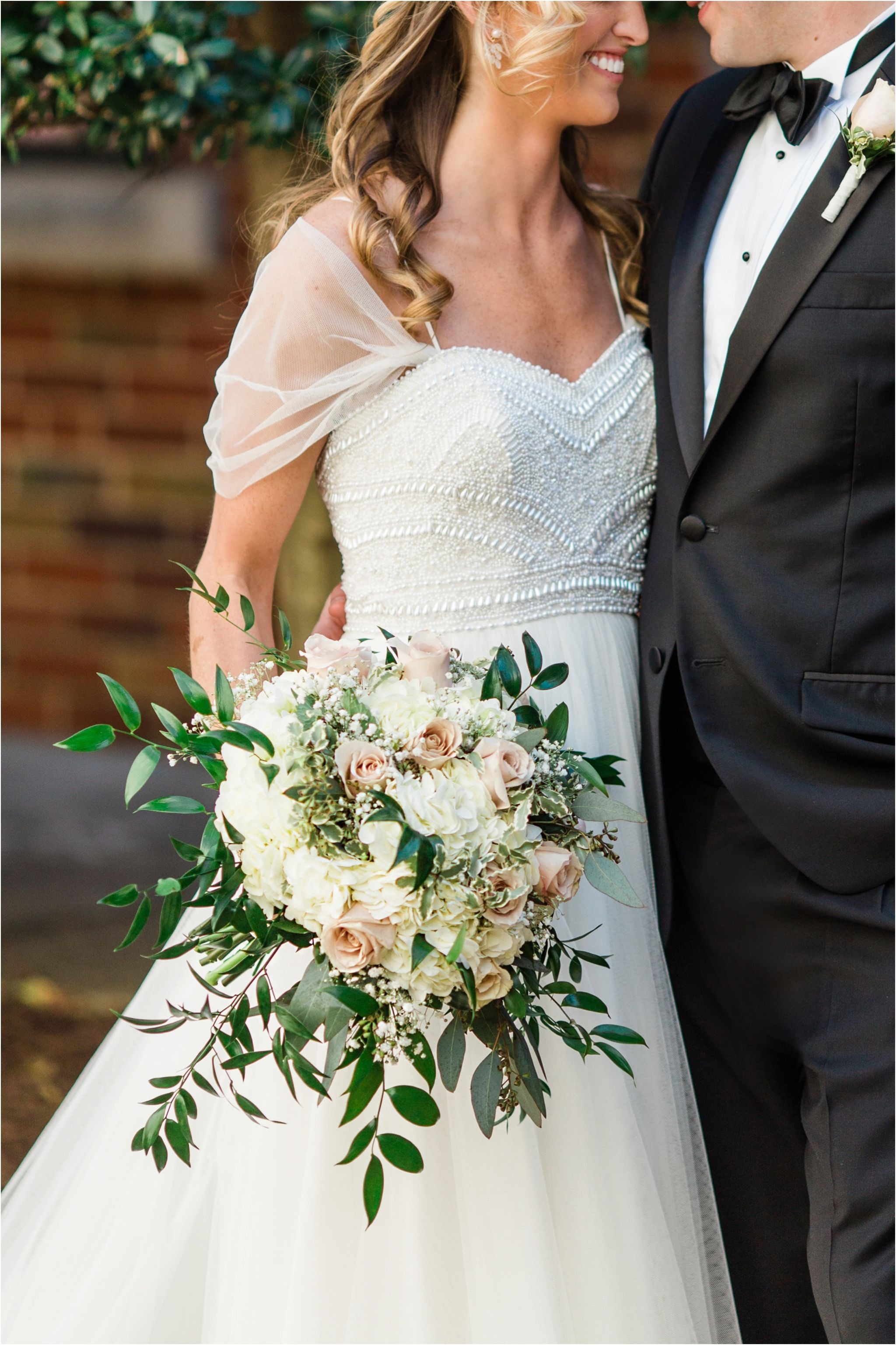 Gorgeous Wedding Bouquet With Blush Roses And Baby S Breath And