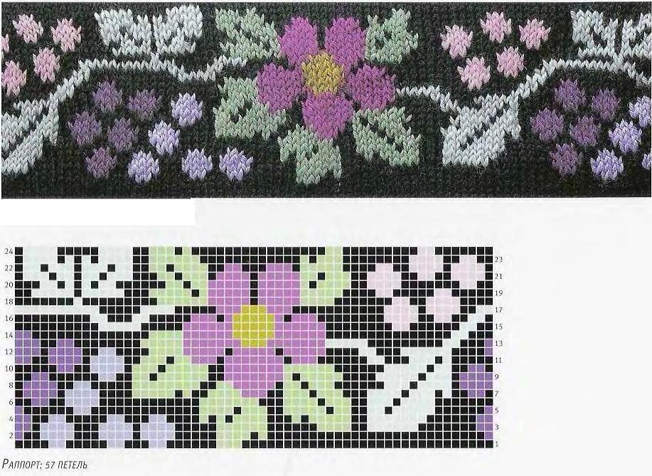 нём схемы картинок с цветами для вязания спицами начинают