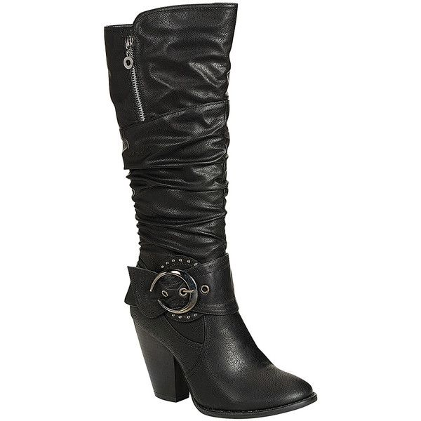Reneeze Black Buckle Choice Boot ($25) ❤ liked on Polyvore featuring shoes, boots, mid-calf boots, faux boots, black buckle boots, black shoes, high heel shoes and black scrunch boots