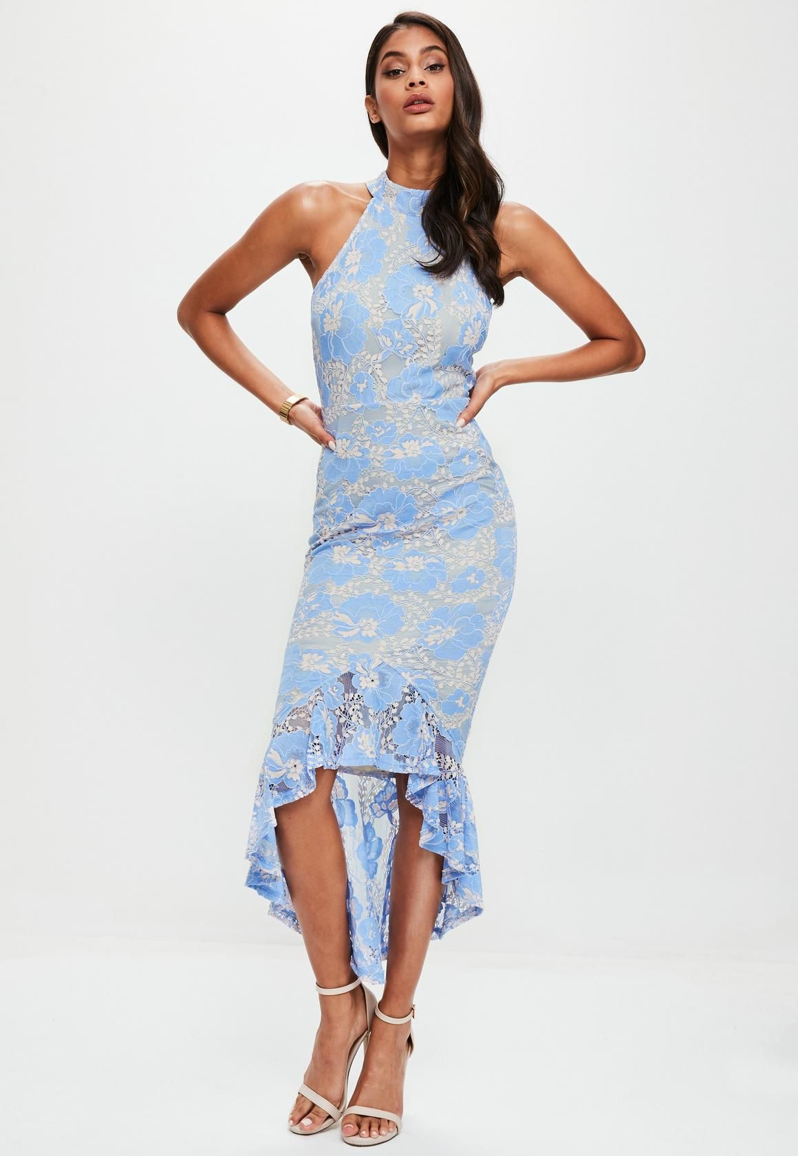 97b615a55e24 Missguided - Blue Corded Lace Fishtail High Neck Dress | Mother of ...