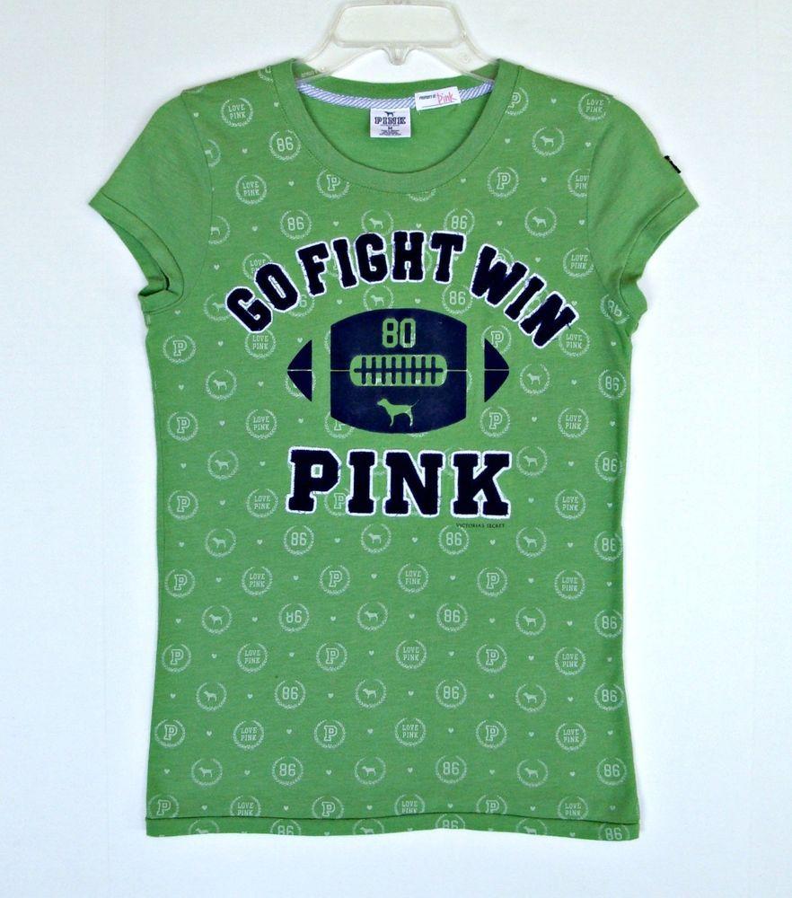 Victoria Secret Pink Green Football T-Shirt Top M 8 10 12 Sewn On Velvet Print  #VictoriasSecret #EmbellishedTee