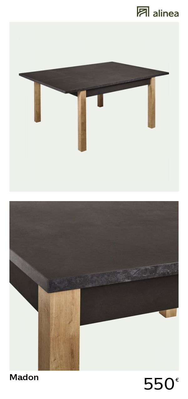 alinea   madon table carrée avec allonges effet marbré - 6 à 12 convives  meubles salle 94144de8c8a2