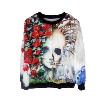 sweater pullover cotton punk goth grunge alternative tattoo skull flowers cool creeps roses bones long sleeved eye crew neck cold winter outfits