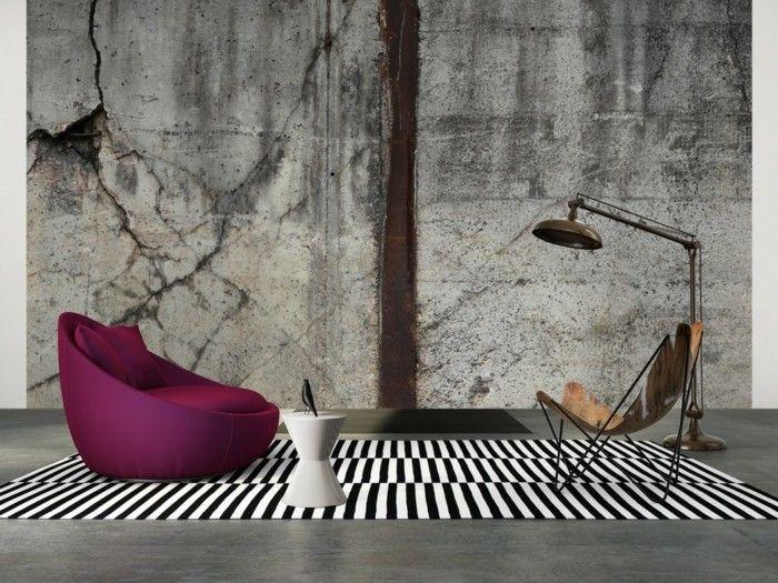 Kreative 3d Tapete Graue Farbe Im Modernen Wohnzimmer Mit Tollen Sesseln