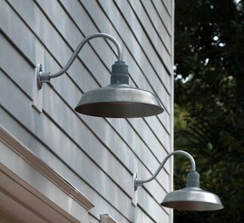 Galvanized gooseneck lights on the outside pinterest for Outdoor garage light fixtures