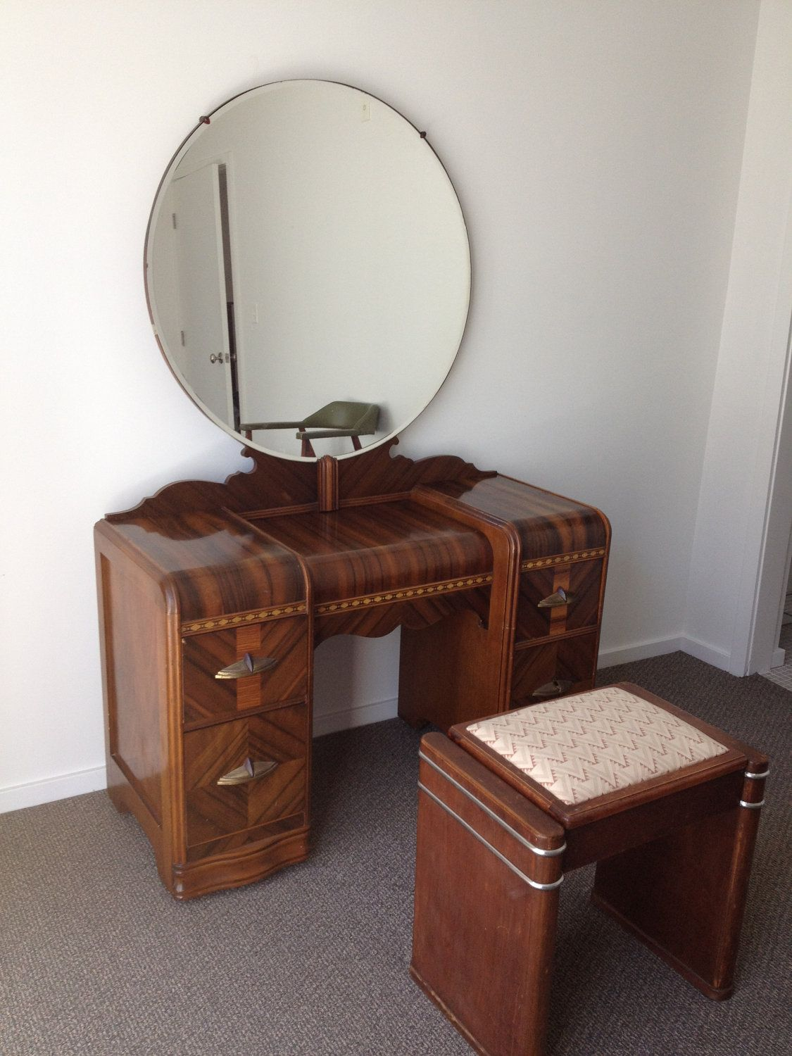 antique bedroom furniture 1930 1930's Art Deco Waterfall Bedroom Furniture   6 Pieces. $900.00  antique bedroom furniture 1930