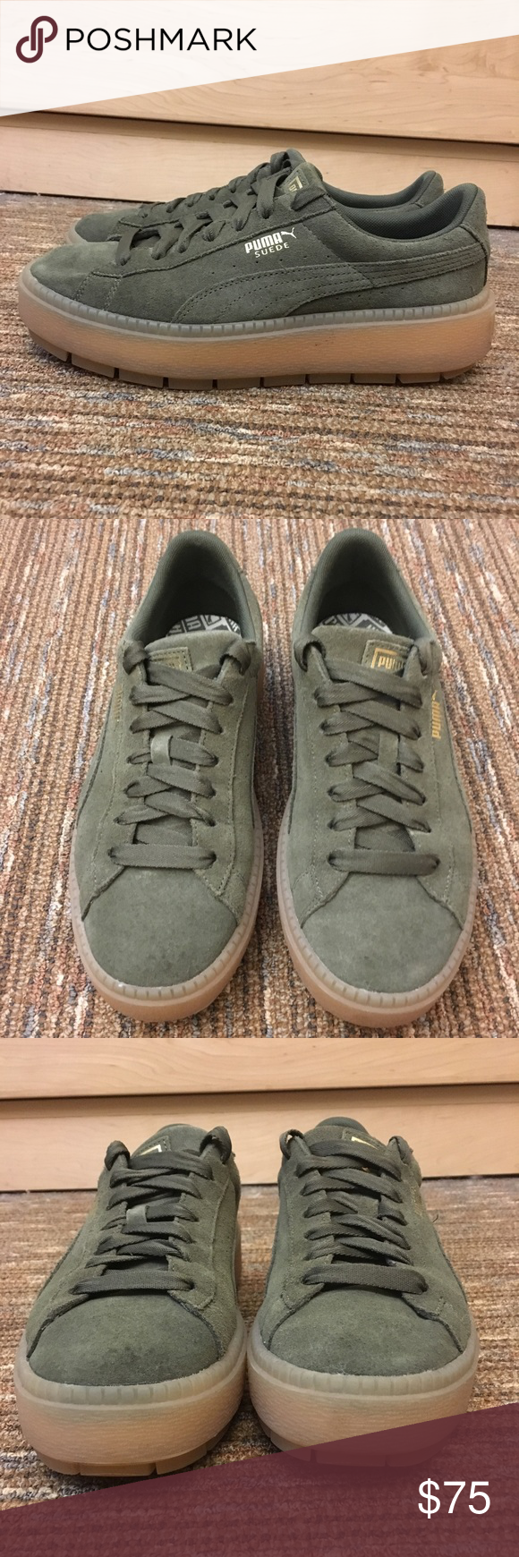 best cheap 91a17 ba015 PUMA Suede Platform Trace Olive green suede, size 8.5 ...