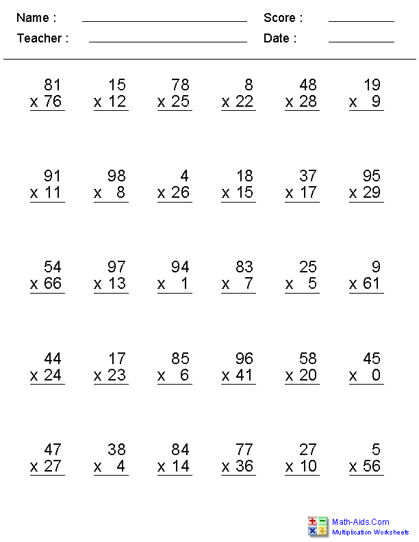 Zero to 99 Facts with Multiplication Worksheets | clasa-5 ...