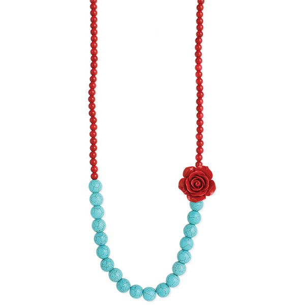 ZAD Red & Turquoise Rose Beaded Necklace ($9.99) ❤ liked on Polyvore featuring jewelry, necklaces, rose jewelry, rose necklace, red rose jewelry, turquoise necklace and red turquoise necklace
