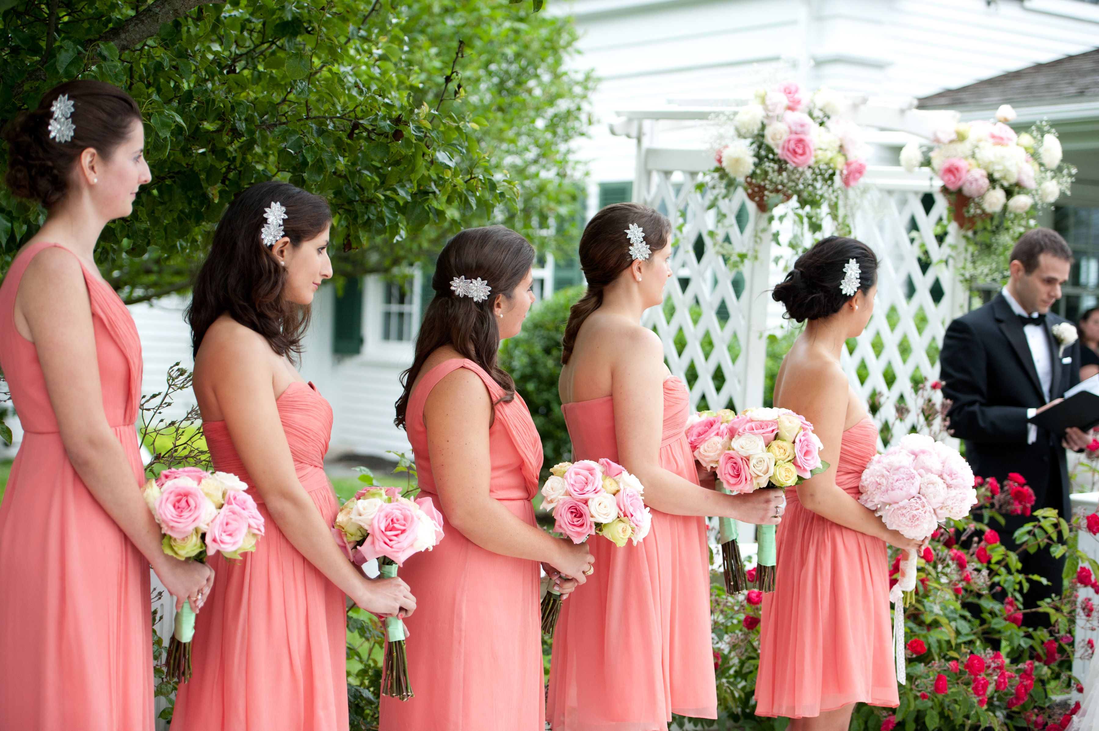 Bridesmaid dresses wedding and wedding photos from real weddings the coral theme in pams romantic orange county wedding see photos of her coral bridesmaids dresses pink bouquets and more ombrellifo Choice Image