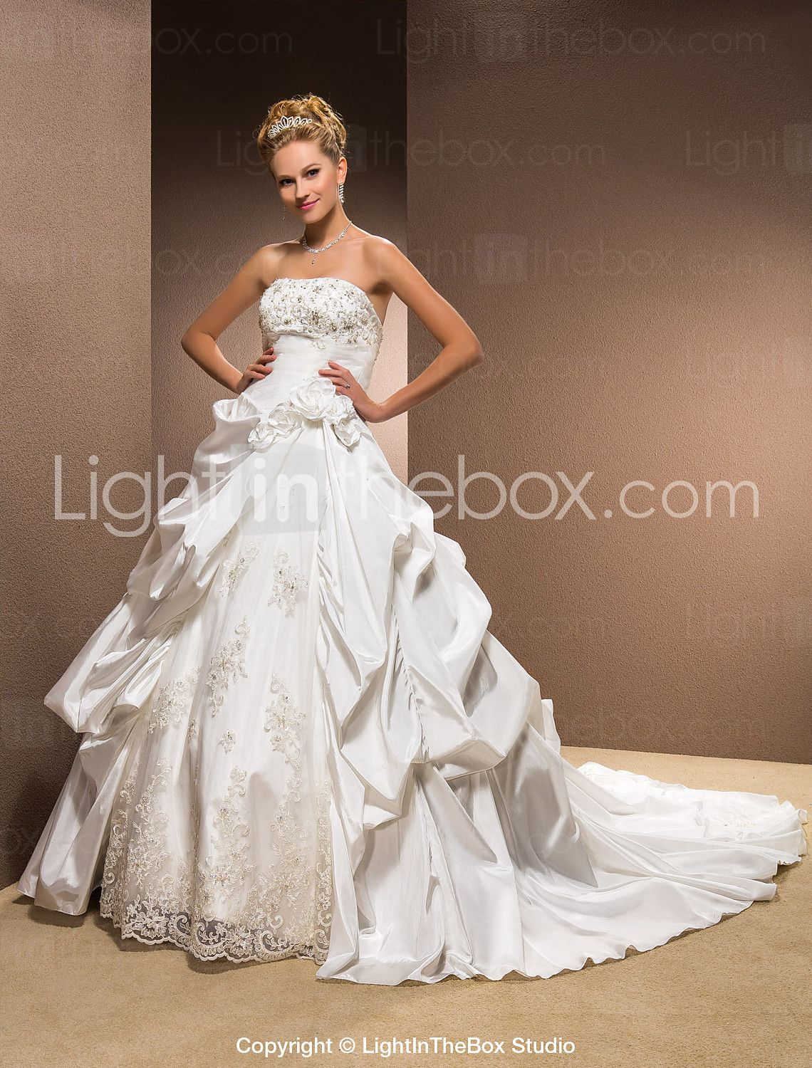 Lightinthebox wedding dresses   Ball Gown Strapless Taffeta Chapel Train Wedding Dress