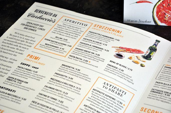 Art Of The Menu Carluccio S Menu Design Inspiration Summer Menu Food Menu Design