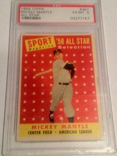 1958 Mickey Mantle Topps 487 Psa Graded 6 Ex Mt Baseball Card By Topps 149 99 Psa Graded 6 Ex Mt Free First Class Sh Baseball Cards Mickey Mantle Baseball