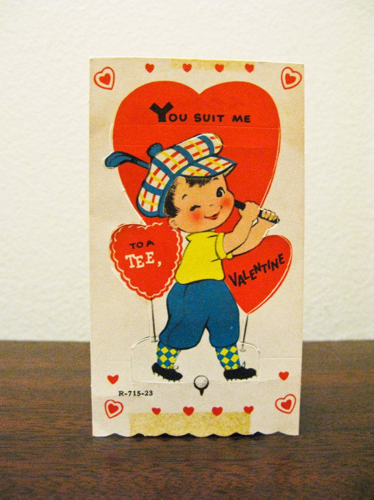Vintage Birthday Cards To A Tee Indeed Valentines Day Golf Theme