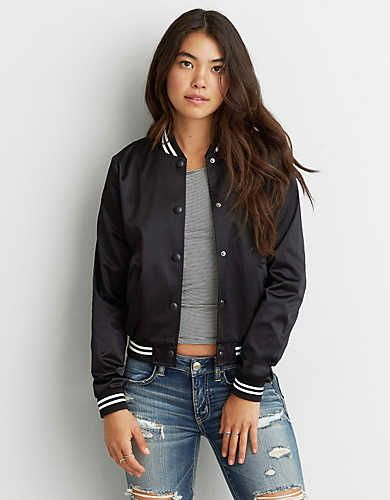 AEO Quilted Bomber Jacket   Lightweight bomber jacket, Layering ...