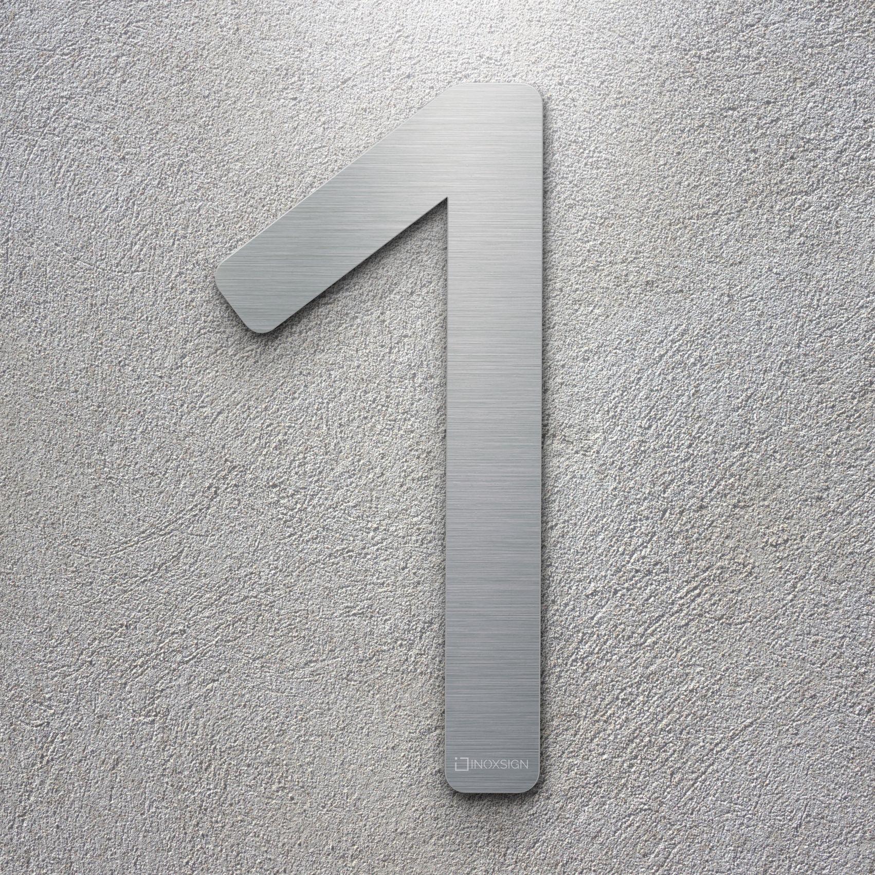 Neu inoxsign edelstahl hausnummer 1 moderne hausnummern aus edelstahl gebürstet design hausnummernschilder erhältlich