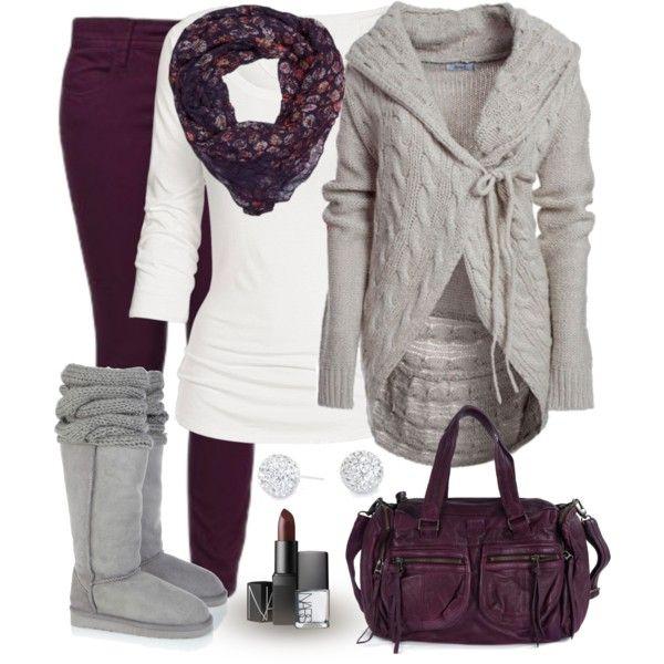 2-2-13, Dark maroon leggings, gray tank & open cardigan, white long sleeve tee, black scarf & flat black biker boots