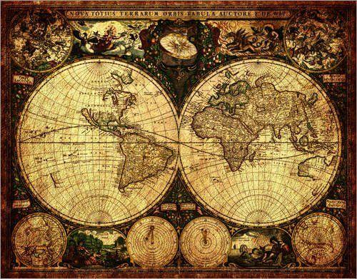 landkarte alt Poster 100 x 80 cm: Welt 1660 Landkarte Karte Weltkarte Seekarte  landkarte alt