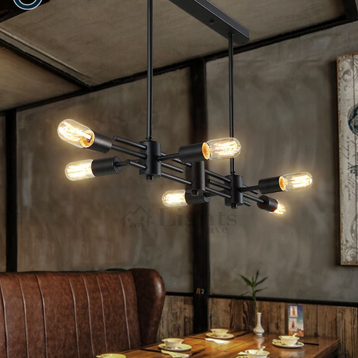 Retro style 6 light industrial chandeliers bar counter industrial industrial chandeliers have 6 lights for lighting and the lighting space could be 10 aloadofball Choice Image