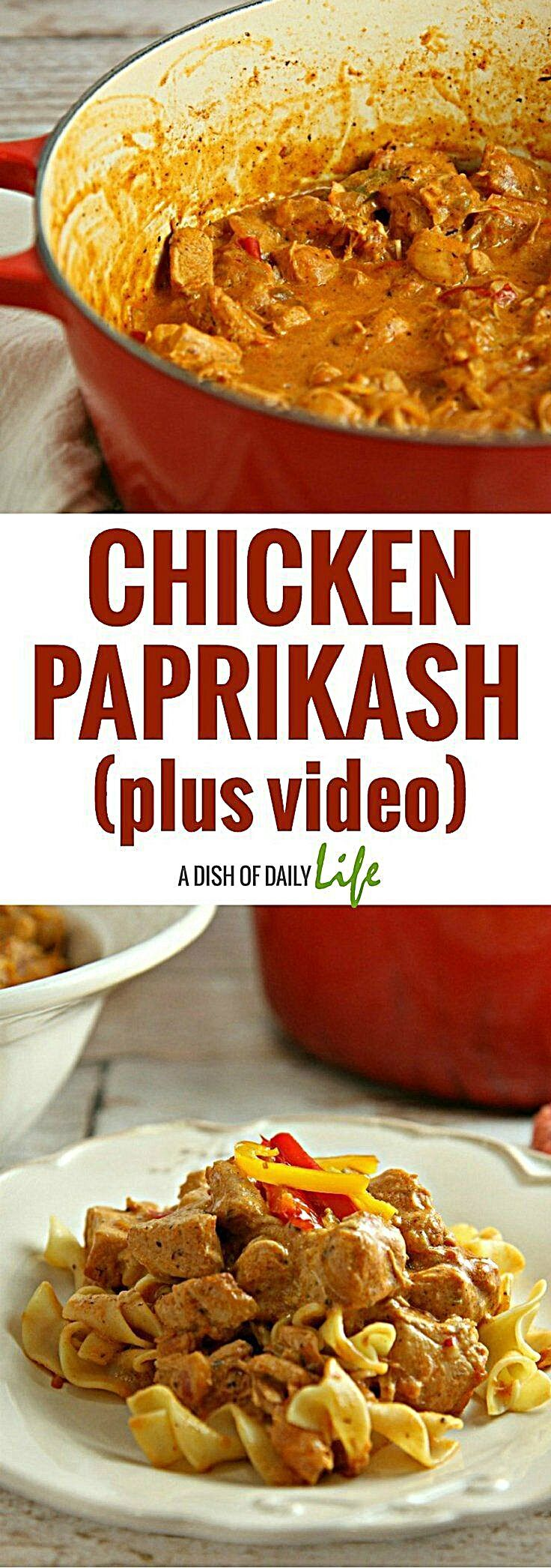 Creamy and delicious, this Hungarian Chicken Paprikash recipe is an easy comfort food dish with a mi...