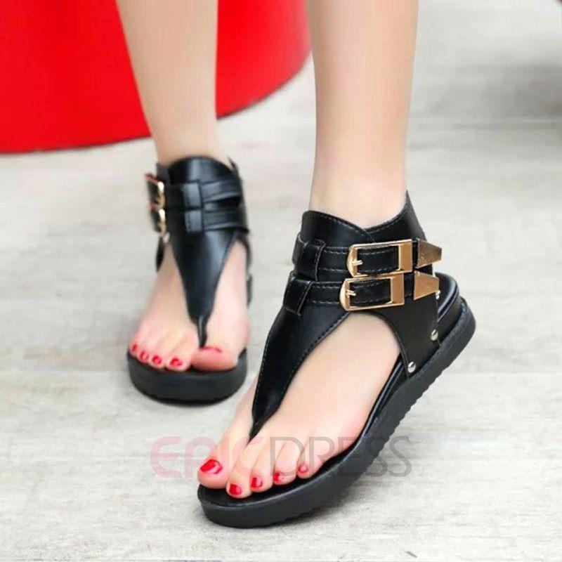 Ericdress 2Fly Footwear Sandals Buckles Toe Flat Clip 08nwvmN
