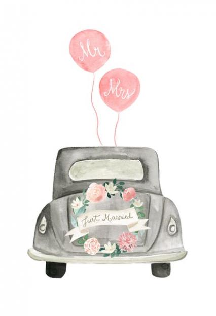 Married zeichnung hochzeitsauto just Druckvorlage Hochzeitsauto