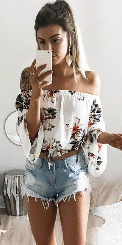 687fa6f1af579 #summer #outfits White Floral Off The Shoulder Top + Ripped Denim Short