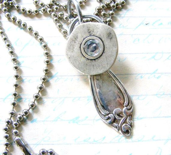 Vintage Silver Spoon Handle and Pewter Button by meiguidesigns, $27.00