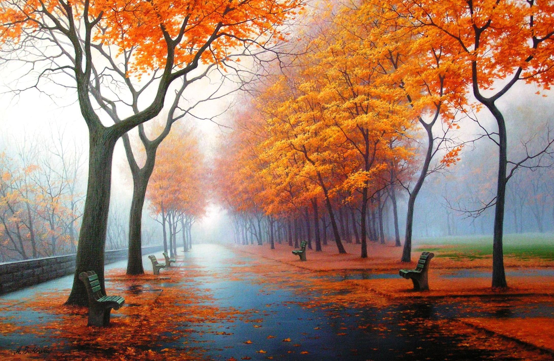 Orange Leafed Trees Painting Autumn Nature Park Figure Picture Art Drawings Pictures 1080 Hd Nature Wallpapers Beautiful Wallpaper Hd Nature Wallpaper