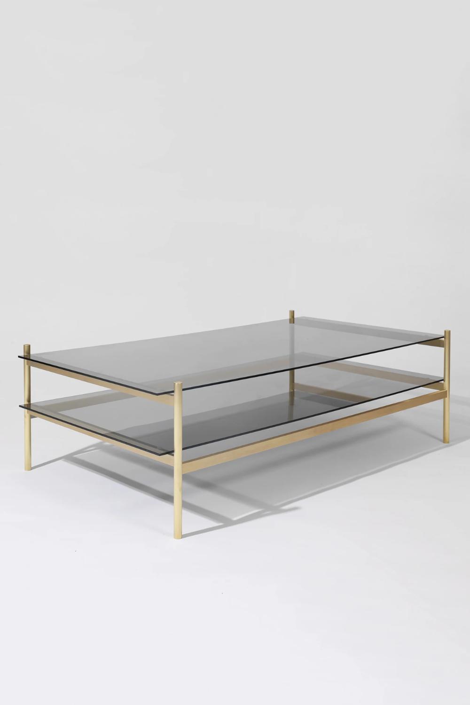 Duotone Rectangular Coffee Table Brass Frame Smoked Glass Smoked Yield Smoked Glass Coffee Table Rectangular Coffee Table [ 1500 x 1000 Pixel ]