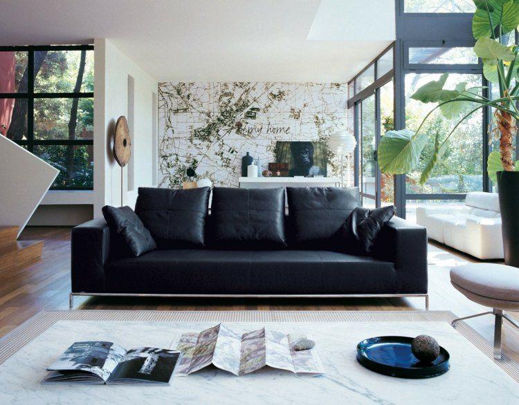 Wohnzimmer Schwarz ~ Wohnzimmer ideen für schwarzes sofa als herzstück
