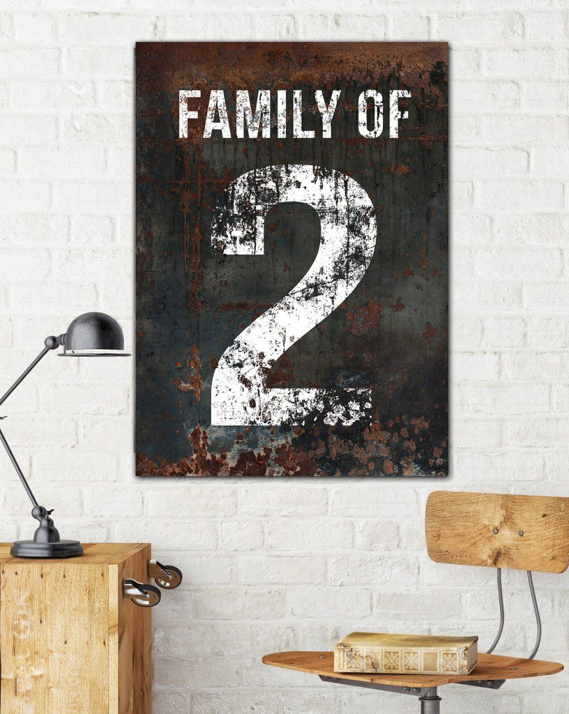 Black Family Number 2 Sign Wall Decor Vintage Sign Canvas Art