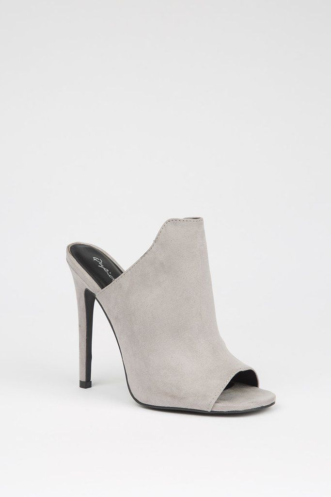 3bdad3a8096a Our Veronica Grey Mules rock the fashion world! With a peep toe silhouette