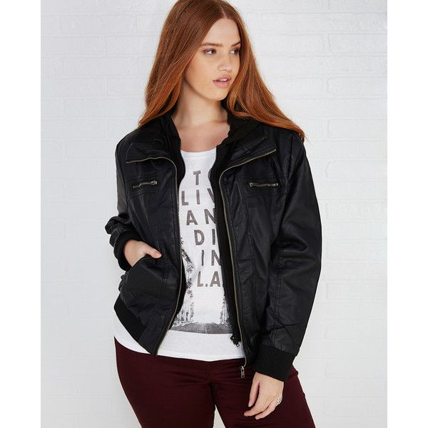 a3050273e Ambiance Apparel Faux Leather Bomber Jacket With Knit Hood ($39 ...