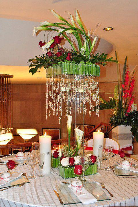 Centros de mesa para bodas fiori bella arreglos de - Mesas de cristal para bodas ...