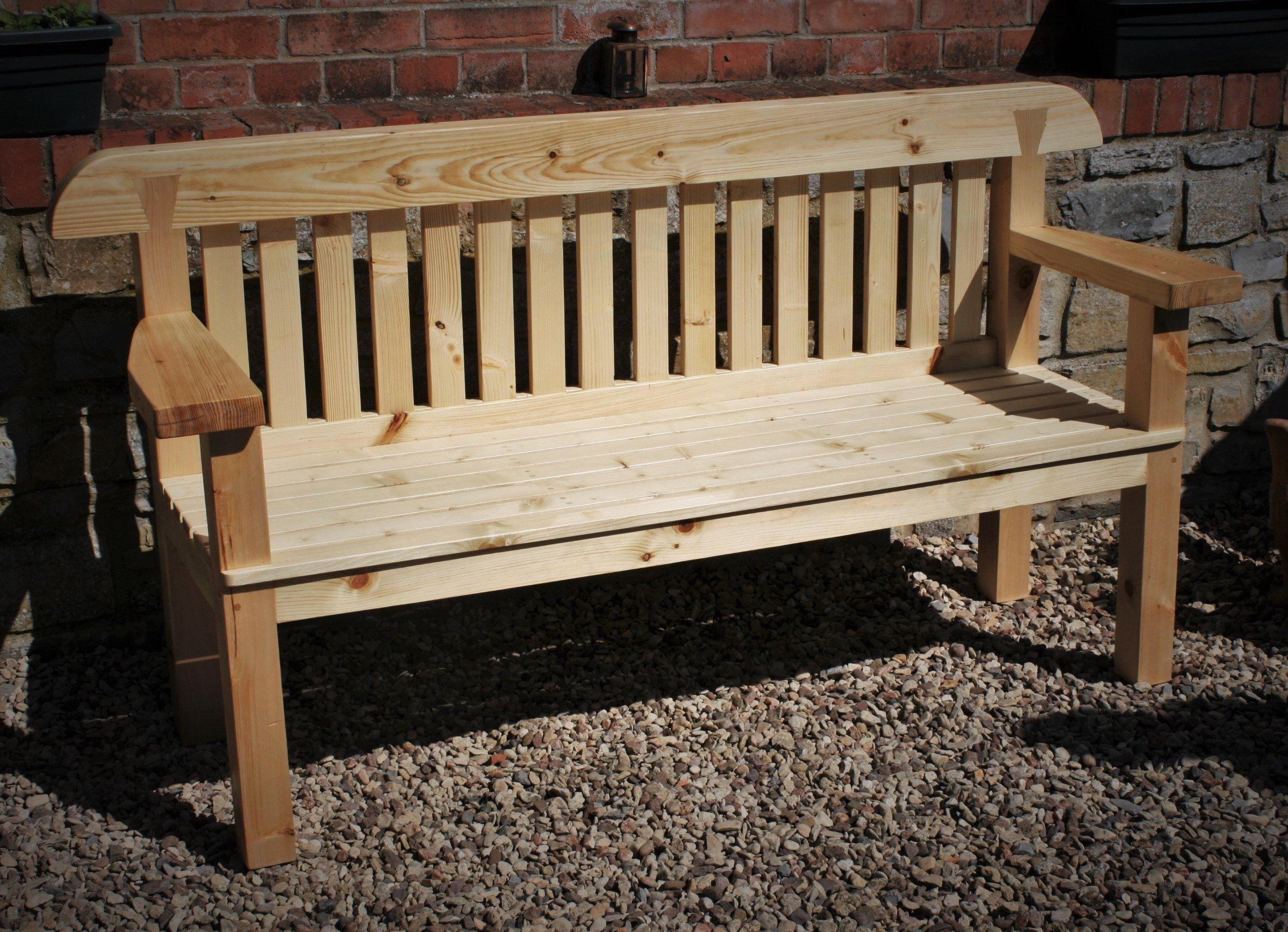 Garden Bench Seat With Wide Arms Natural Solid Wood Rustic Country Cottage Outdoor Garden Furn Garden Bench Seating Cottage Outdoor Wooden Garden Furniture