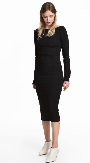 Fitted Long Sleeved Dress In Sturdy Crepe Jersey With A Boat Neck And A Concealed Zip At The Hem That Can Be Opened To Cre Black Bodycon Dress Fashion Dresses