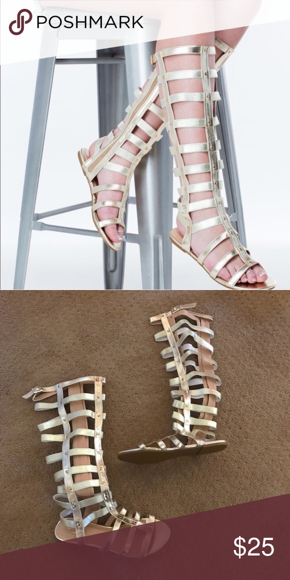 ebb69aa83b5 New Knee High Tall Gladiator Sandals Gold 9 New. Gold Gladiator Sandals.  Size 9. These have tons of stretch. NO TRADES.      NOT STEVE MADDEN       Steve ...