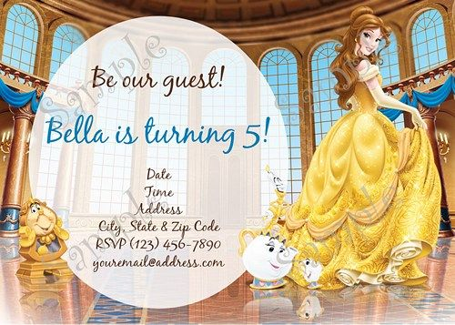 Belle Invitation Beauty and the Beast Invitation FREE Thank you