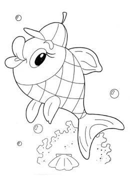 Раскраска Рыбка в кепке, скачать и распечатать раскраску ...